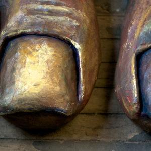 Close up image of giant (5') Abiyoyo feet